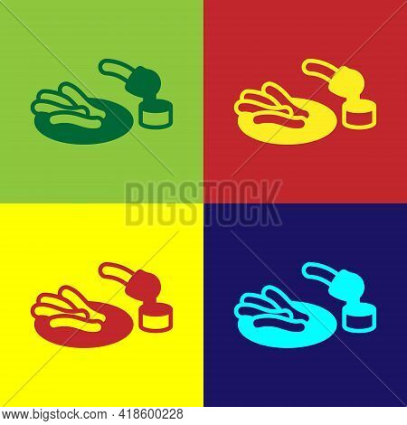 Pop Art Churros And Chocolate Icon Isolated On Color Background. Traditional National Spain Dessert,