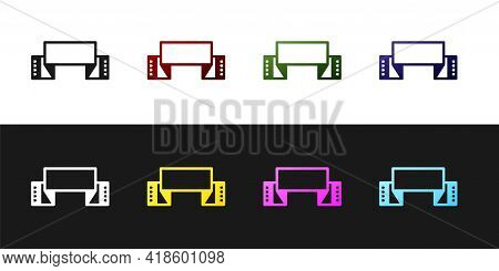 Set Traditional Ukrainian Embroidered Towel Icon Isolated On Black And White Background. Vector