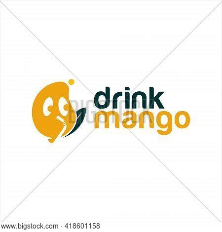 Fun Mango Juice Drink Logo Template. Cartoon Mascot Vector For Fresh Fruit Beverage Sticker Design I
