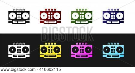 Set Dj Remote For Playing And Mixing Music Icon Isolated On Black And White Background. Dj Mixer Com