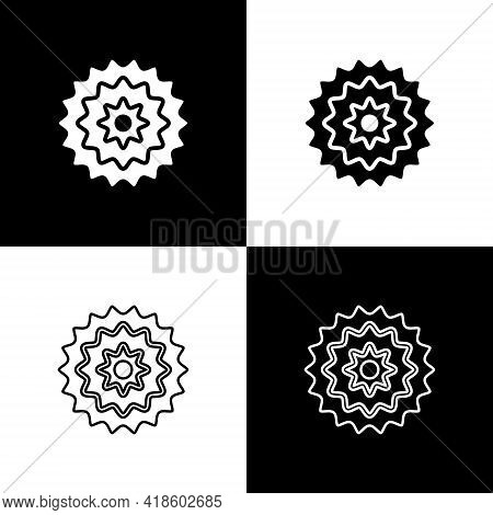Set Bicycle Cassette Mountain Bike Icon Isolated On Black And White Background. Rear Bicycle Sprocke