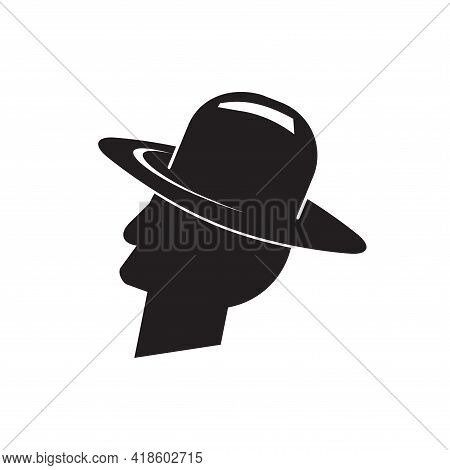 A Man In A Cowboy Hat. Vector Illustration Of Retro Western Fashion Hat, Isolated Style, Traditional