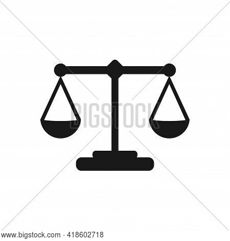 Social Justice. Flat Vector Graphics Of Legal Law, Symbol Of Balance Judge, Correct Sign Of Fair Con