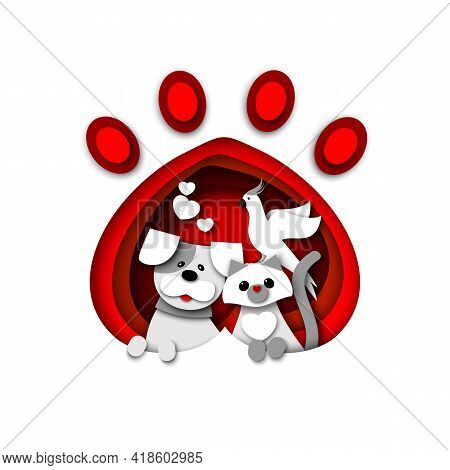 Cute Cat, Dog And Parrot Sitting In Pet Animal Paw Print, Vector Paper Cut Illustration. Pet Shop, S