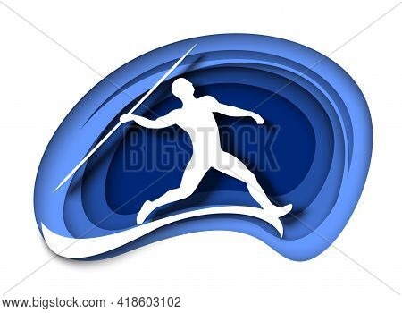 Javelin Throw. Athlete Throwing Spear White Silhouette, Vector Illustration In Paper Art Style. Athl