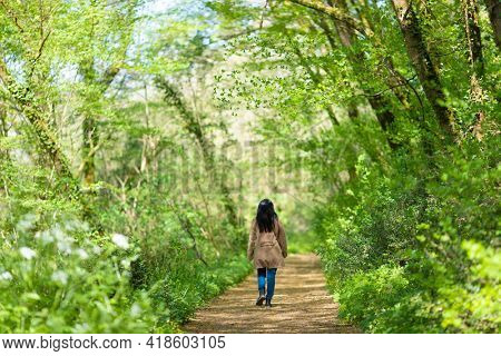 Woman walking in a fresh green forest at springtime.