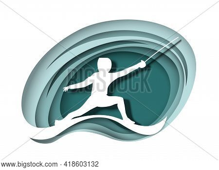 Fencer Athlete With Sword White Silhouette, Vector Paper Cut Illustration. Fencing Sport Competition