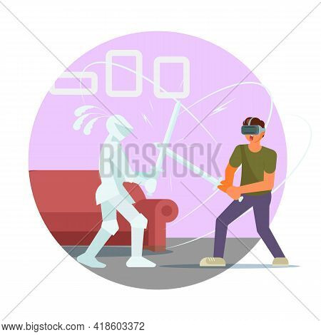 Gamer Man In Vr Glasses Fighting With Knight, Vector Illustration. Sword Fight Virtual Reality Game,