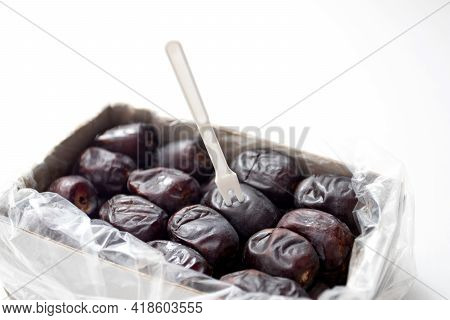 Fresh Dates In A Pack. Packed Box With Iranian Dates. Dried Fruits