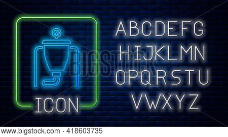 Glowing Neon Beer Brewing Process Icon Isolated On Brick Wall Background. Neon Light Alphabet. Vecto