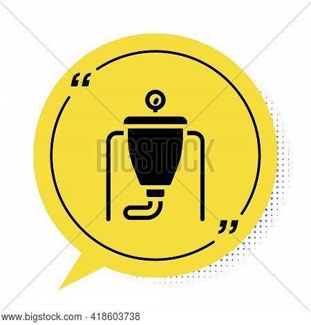 Black Beer Brewing Process Icon Isolated On White Background. Yellow Speech Bubble Symbol. Vector