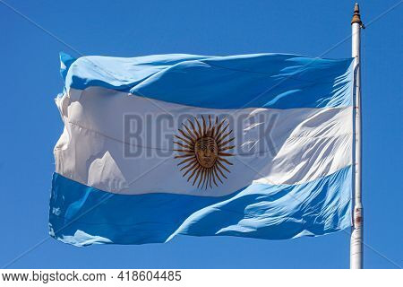 Argentine flags at Plaza de Mayo in Buenos Aires