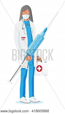 Female Doctor Holds Large Syringe With Vaccine. Cartoon Doctor Holding Big Syringe Isolated On White