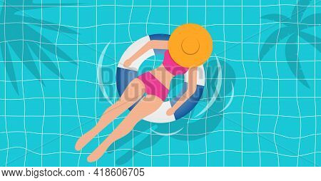 Top View Of Beautiful Girl In Swimming Pool. Relax Swim On Inflatable Ring. Vacation Concept. Vector