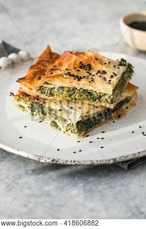 Homemade Greek Spanakopita Pie With Organic Spinach. Greek Spanakopita Pie