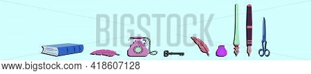 Set Of Vintage Stuff Cartoon Icon Design Template With Various Models. Modern Vector Illustration Is