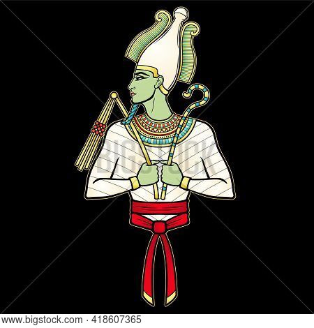 Animation Portrait Egyptian Man In The Crown Holds Symbols Of Power In His Hands. God Osiris. Profil