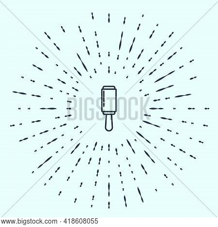 Black Line Adhesive Roller For Cleaning Clothes Icon Isolated On Grey Background. Getting Rid Of Deb