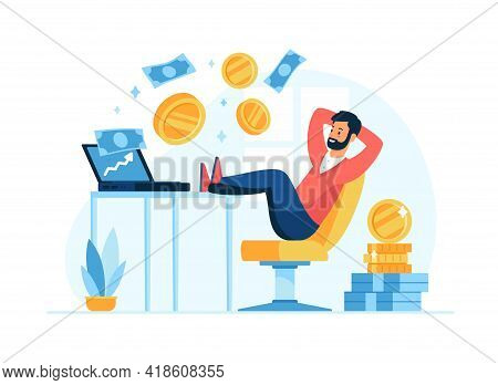 Passive Income Concept Flat Vector Illustration. Male Cartoon Character Businessman Relax In Chair W