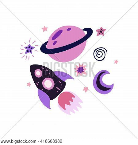 Childrens Illustration Of A Spaceship With A Crescent Moon, Saturn And Stars. Space Adventure. Galax