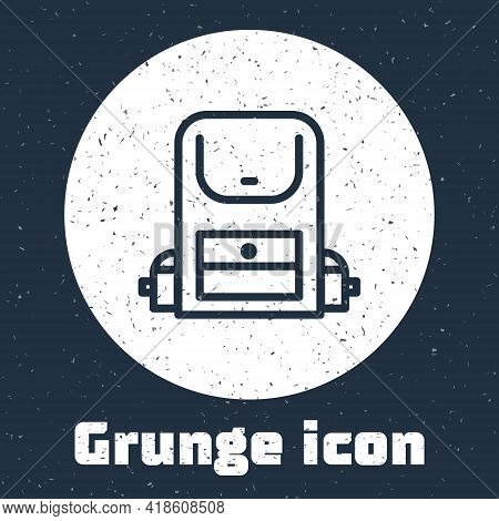 Grunge Line Hiking Backpack Icon Isolated On Grey Background. Camping And Mountain Exploring Backpac