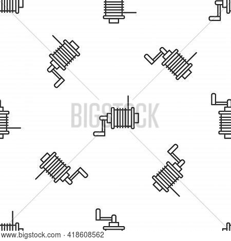 Grey Line Spinning Reel For Fishing Icon Isolated Seamless Pattern On White Background. Fishing Coil