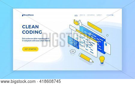 Clean Coding. Blue And White Banner For Web Page Offering To Learn More About Effective Clean Coding