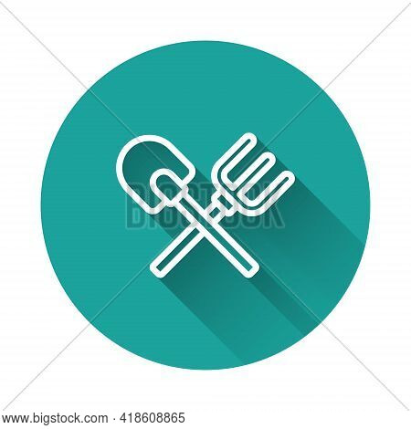 White Line Shovel And Rake Icon Isolated With Long Shadow. Tool For Horticulture, Agriculture, Garde