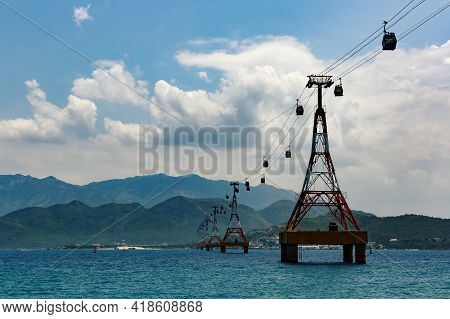 One Of The Worlds Longest Cable Car Over Sea Leading To Vinpearl Amusement Park, Nha Trang, Vietnam.