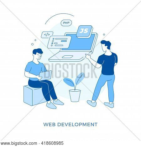 Linear Flat Web Development Concept Vector Illustration. Male Cartoon Characters Coder And Programme