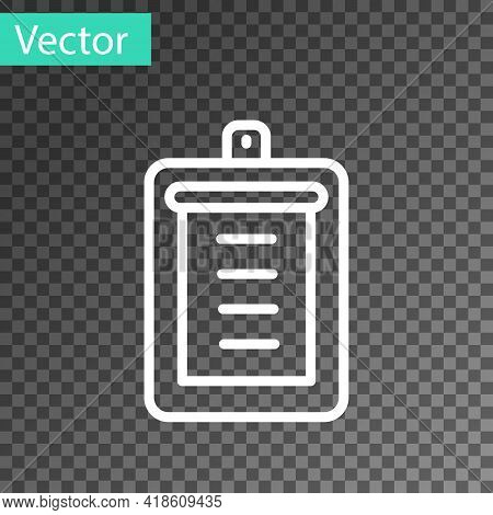 White Line Clipboard With Checklist Icon Isolated On Transparent Background. Control List Symbol. Su