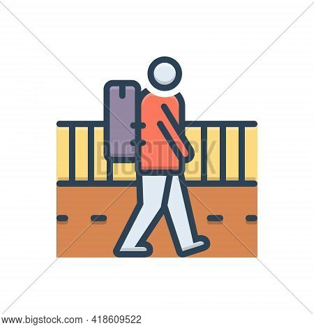 Color Illustration Icon For Vagrant Strolling Rangy Nomad Migratory Emigrant