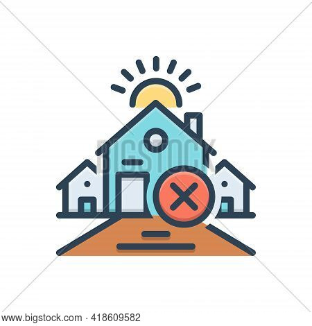 Color Illustration Icon For Abandon Leave  Discard Renounce House