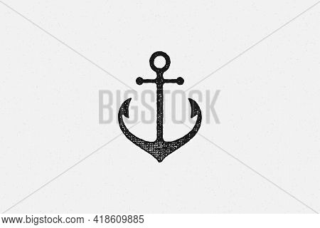 Black Silhouette Traditional Anchor Emblem Of Maritime Industry Hand Drawn Stamp Effect Vector Illus