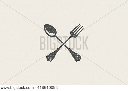 Crossed Spoon And Fork Silhouette For Food Service Hand Drawn Stamp Effect Vector Illustration.