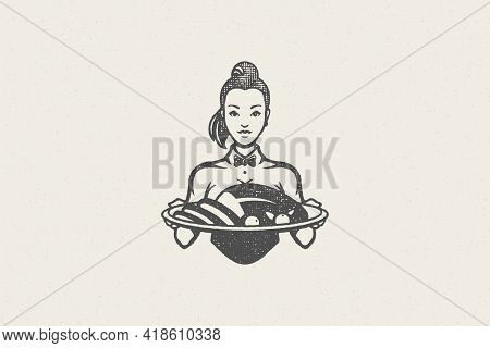 Waitress Silhouette In Uniform Holding Tray With Roasted Poultry Turkey Hand Drawn Stamp Effect Vect