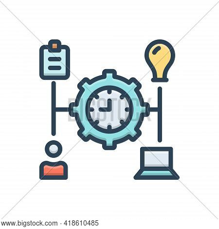 Color Illustration Icon For Manage Transact Operate Organize Organise