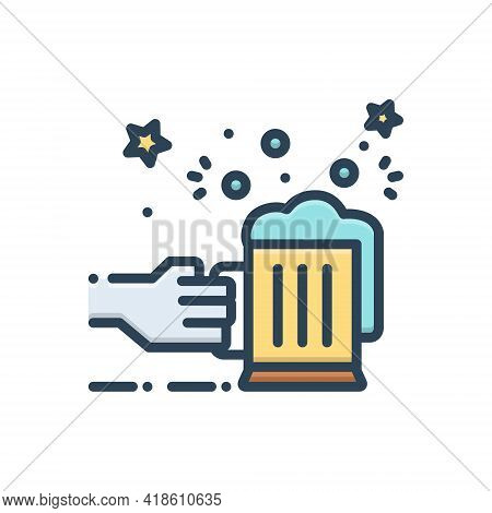 Color Illustration Icon For Allegro Enthusiastic Raptured Blissful Cheers Celebration