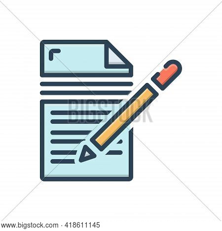 Color Illustration Icon For Writing  Editors  Writer  Author Notepad Pen