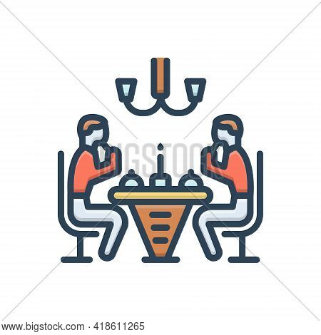 Color Illustration Icon For Dinner Edible People Party Restaurant Eatery