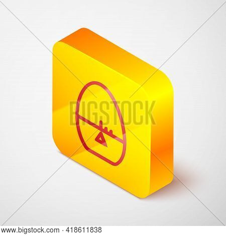 Isometric Line Kitchen Timer Icon Isolated On Grey Background. Egg Timer. Cooking Utensil. Yellow Sq