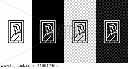 Set Line Portrait Picture In Museum Icon Isolated On Black And White Background. Vector