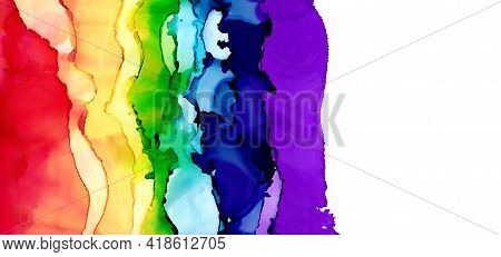 Rainbow Background On The Left And A Blank Space On The Right. Colorful Painting For Graphic Design.