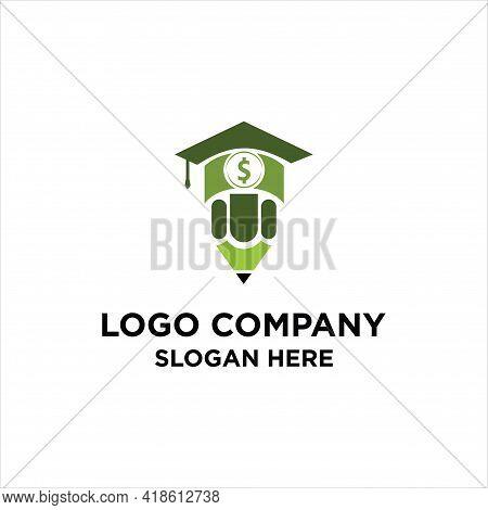 Graduation Cap Money Icon Vector Design. Scholarship Logo Concept Design, Student Education Hat With