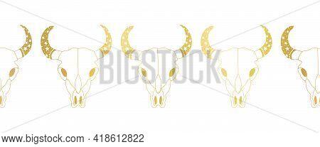 Bull Skull Gold Foil Seamless Vector Border. Cow Skulls Repeating Horizontal Pattern Line Art Metall