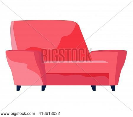 Armchair In Retro Red Color. Modern Soft Armchair With Upholstery Of Striped Cloth. Living Room Furn