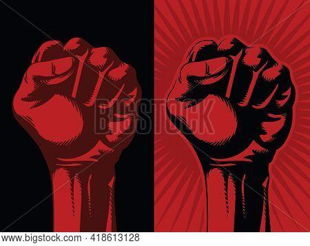Raised Red Fist Hand Revolution Communism Socialism Symbol Drawing