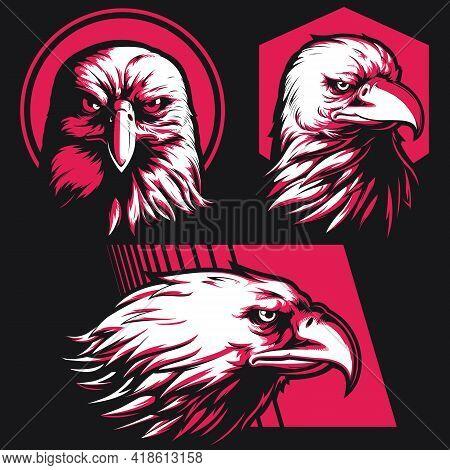 Silhouette Eagle Falcon Head Stencil Logo Vector Illustration Drawing