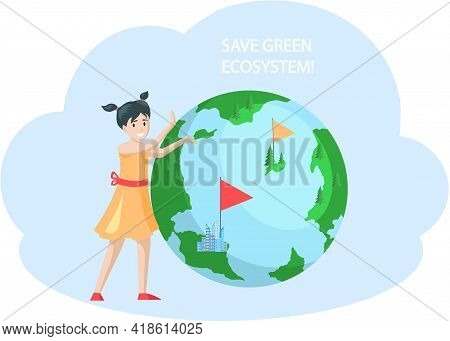 Nature And Ecology Modern Graphic Design Poster. Save Green Ecosystem On Earth Concept. Girl Thinkin