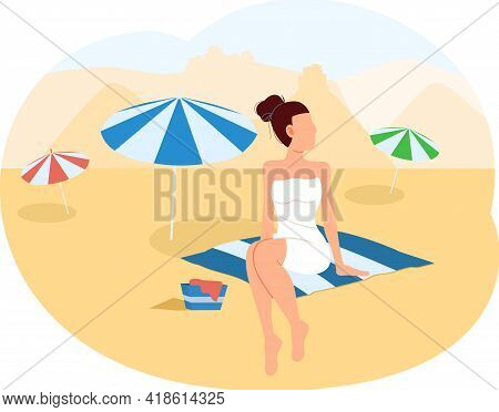 Busan Tourist Travel Poster With Beach And Ocean. Summer Tourism In City In South Korea. Female Char